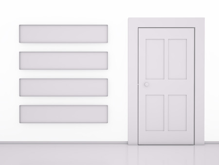 doorframe: Front view of Door and Banner Stripes on white, 3D rendering image