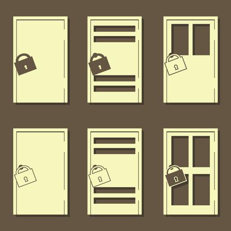 push room: Set of light door icon. Vector illustration