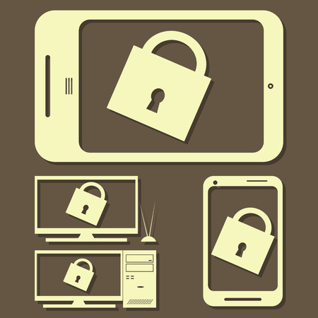 empty keyhole: Set of Electronic Devices icon. Vector illustration