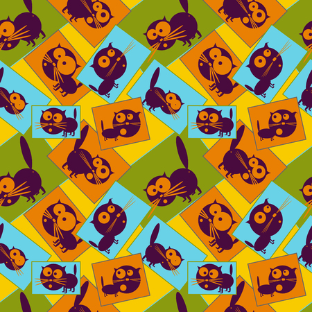 funny pictures: Pictures with funny black cats. Seamless pattern. Vector illustration