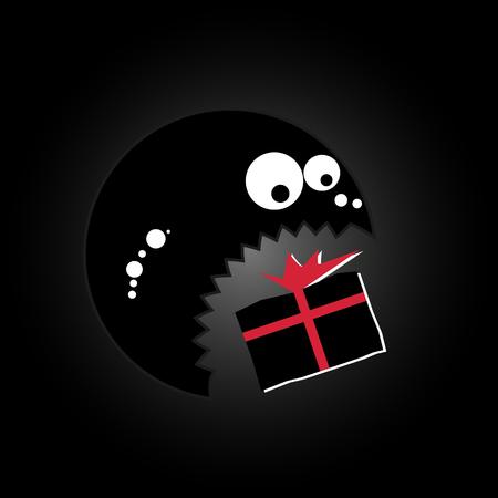 terrified: Funny cute monster eating gift box. Vector illustration