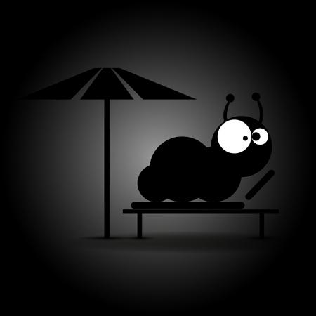 dark eyes: Caterpillar with big eyes on dark background. Vector illustration Illustration