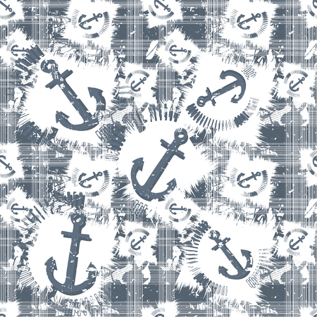 pattern: Grunge seamless pattern with anchors. Vector illustration