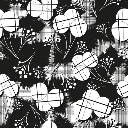 pattern: Seamless pattern with balloons. Black and white. Vector illustration