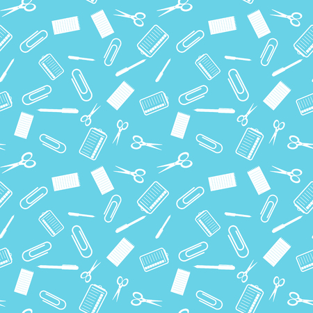 Seamless education pattern. White objects on blue background. Vector illustration