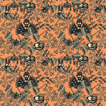 lapin: Abstract autumn forest. Seamless pattern. Vector illustration Illustration