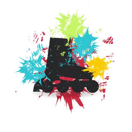 Patins à roulettes avec taches de couleur. Banque d'images - 86377040