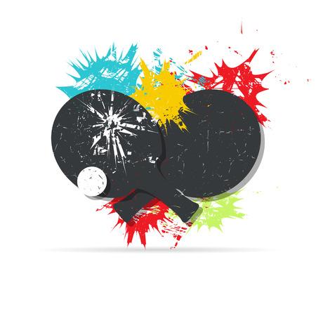 Design di manifesti di ping-pong. Sfondo con macchie di colore. Illustrazione vettoriale grunge Vettoriali