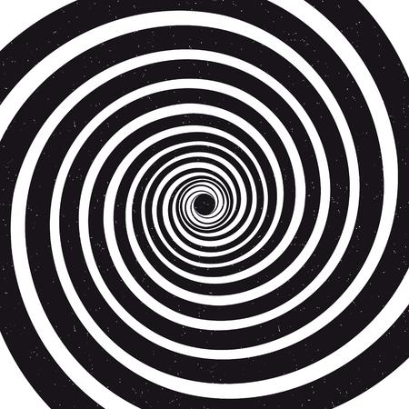 Spiral background. Optical illusion. Grunge vector illustration Vettoriali