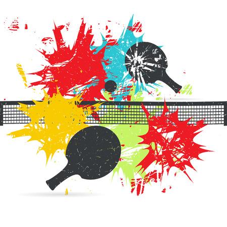 Design di manifesti di ping-pong. Sfondo con macchie di colore. Illustrazione vettoriale grunge