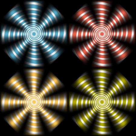 Set of psychedelic spirals.