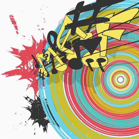 Diseño de carteles de música colorida con notas de melodía. Ilustración vectorial