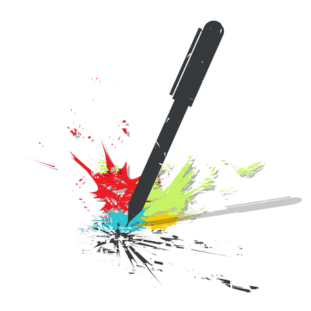 Pen on white background with color spots. Grunge vector illustration