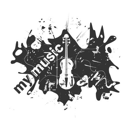 Violin, white object on black background, grunge vector illustration. Ilustração
