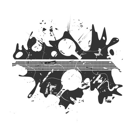 Table tennis posters design. White object on black background. Grunge vector illustration