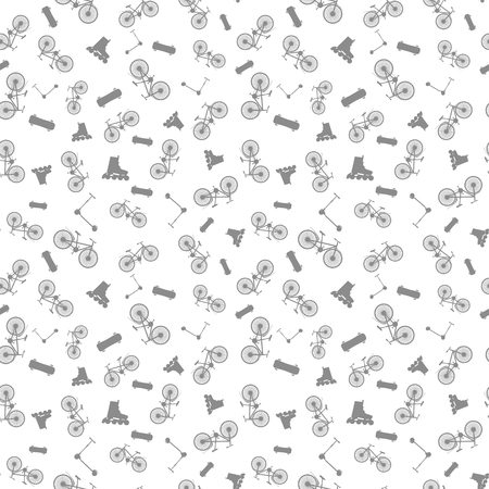 Seamless pattern of summer sporting goods: bicycle, skate, rollers, scooter. Vector illustration. White background
