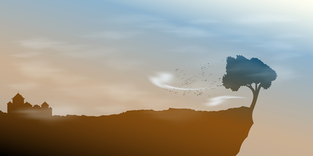 Landscape with single tree on a precipice in the wind. Vector illustration Vectores