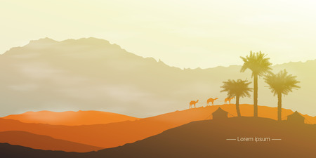 Landscape of the desert with camels and palm trees. Vector illustration Illustration