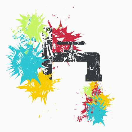 Water faucet on white background with color spots. Grunge vector illustration