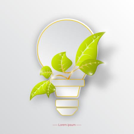 Icono de protección del medio ambiente con bombilla y planta. Concepto de ecología.