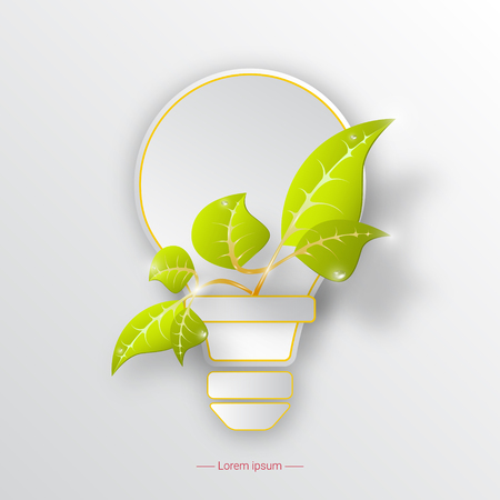 Icon of environmental protection with light bulb and plant. Ecology concept.