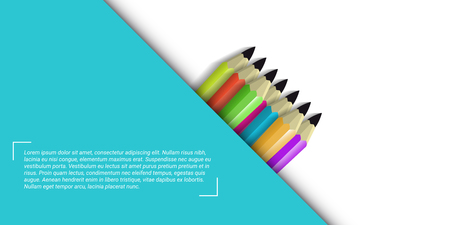 Banner with set of pencils on white background and sample text. Vector illustration