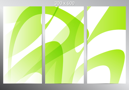 Set of three vertical banners. Green abstract background. Modern infographic design. Vector illustration