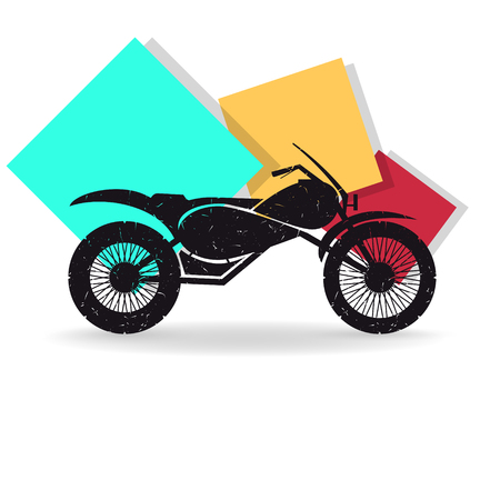 Motorcycle on colored background. Grunge vector illustration Ilustracja