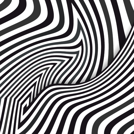 Abstract striped background. Optical illusion. Black and white. Vector illustration Çizim