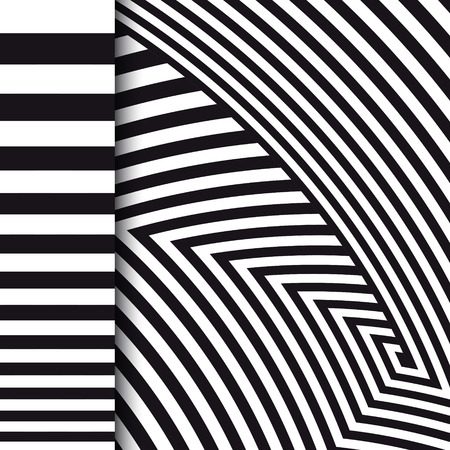 Abstract striped background. Optical illusion. Black and white. Vector illustration Illustration