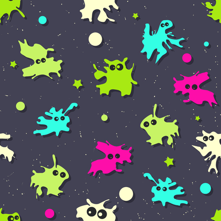 Colored seamless pattern with bright monsters on dark background. Vector illustration Ilustracja