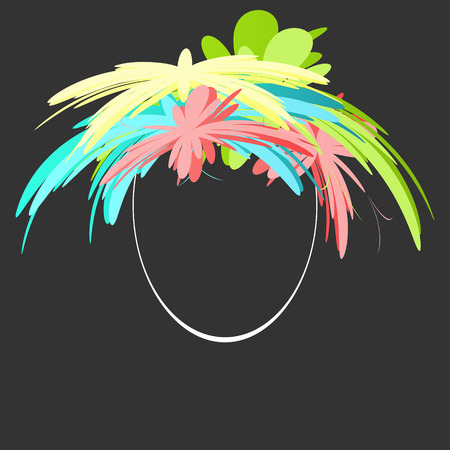 Bright hairstyle. Colored vector icon on black background. Ilustracja