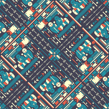 Seamless colored decorative geometric pattern. Weapons concept. Abstract background. Vector illustration