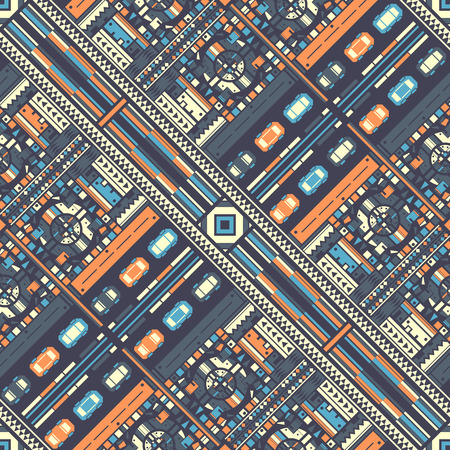 Top view of abstract city and airport. Seampless pattern. Vector illustration
