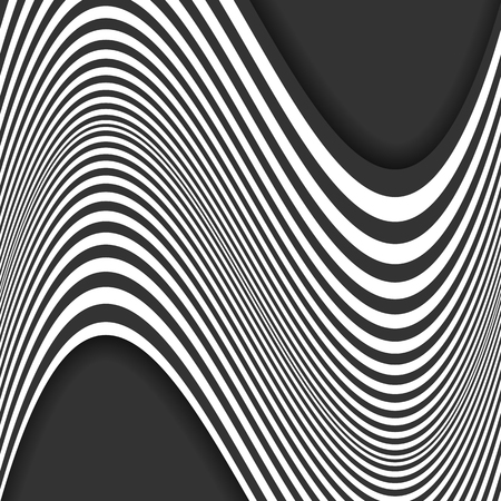 Abstract striped background. Curved lines. Black and white. Vector illustration