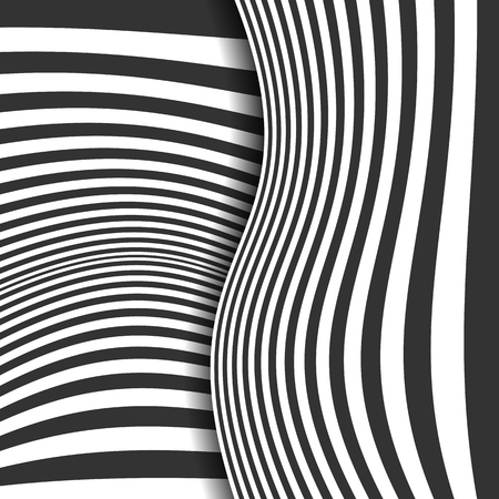 Abstract striped background. Curved lines. Black and white. Vector illustration Banque d'images - 127693048