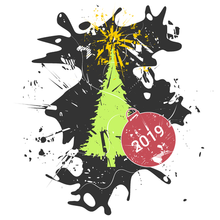 Christmas tree. Grunge vector illustration of New Year conception.