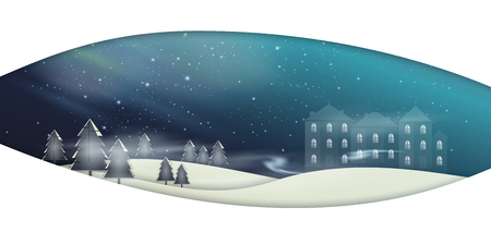 Winter landscape. Snowing. Vector illustration with place for text