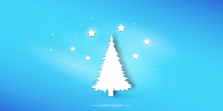 Christmas tree and stars. Vector illustration of New Year conception.