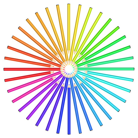diffraction: Coloured pencils arranged in a circle. Rainbow spectrum on a white background. Diffraction of light.