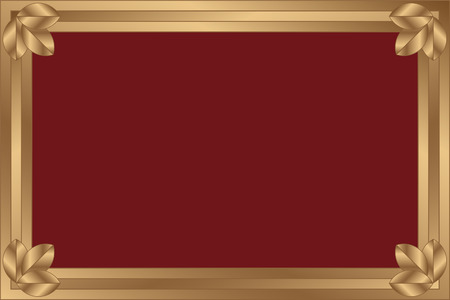 The gilt framework with a claret background. The framework is decorated on angles by three gilt leaflets.  Vector