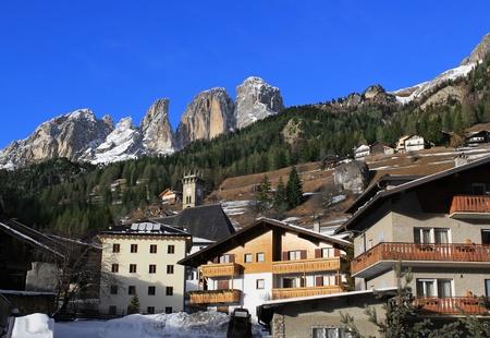 View of the mountains Sassolungo from Campitello di Fassa, Val di Fassa, Dolomiti, Alpes, Italy photo