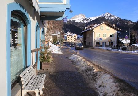 fassa: Street of ski resort  Campitello di Fassa, Val di Fassa, Dolomiti, Alpes, Italy