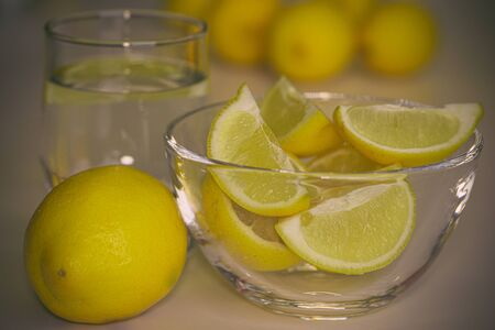 Close-up of lemon on background Bokeh Imagens