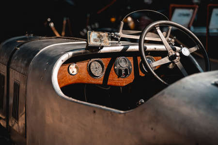 Dashboard and steering wheel of an old Austin 7 BC in the building of the Museum of Retro Cars on Aprill 20, 2018 in Novokuznetsk, Kemerovo Region, Russian Federation.