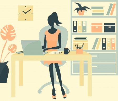 laptop silhouette: A young woman working in an office envoronment. Illustration