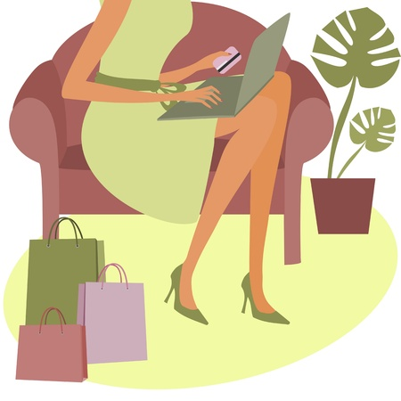 A young woman holding a credit card while shopping on the internet.  Vector