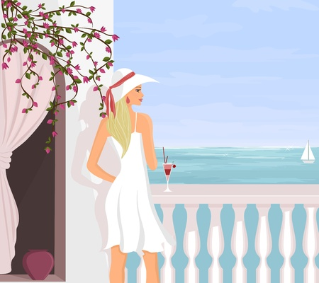 A young beautiful woman is enjoying the view from her balcony while on vacation. Vector Illustration