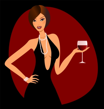 A beautiful woman holding a glass of red wine. Vector