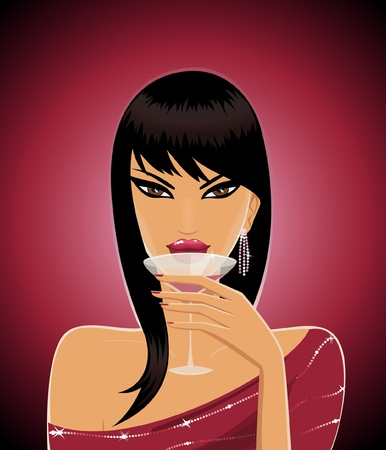 Portrait of an attractive dark-haired woman holding a cocktail glass. Vector
